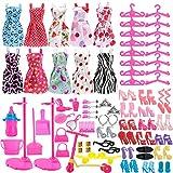ASIV 68Pcs Modische Kleidung, Schuhe und Zubehör für Barbie Puppen, inkl. 10er Packung Kleider,...