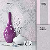 NEWROOM Barocktapete Tapete Grau Ornament Barock Vliestapete Rosa Vlies moderne Design Optik...