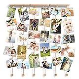 Love-KANKEI SHMILY Bilderrahmen Collage Fotorahmen Holzbilderrahmen mit 30 kleinen Holzklammern