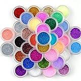 Prochive 45 Stück Glitzerstaub Glitzerpuder Glitzer Set Nagel Dekoration für Make-up und...