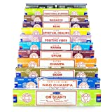 Satya verscheidenheid mix 12x15g boxen van wierookstokjes, bevat Nag Champa, Super Hit, Oodh,...
