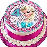 Cannellio Cakes vorgeschnittenen Essbarer Zuckerguss Cake Topper, 19,1cm rund Frozen ELSA Alter...