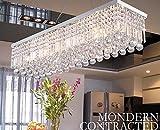 Dst moderne Luxus Regen fallen Deckenleuchten Rechteck klar K9 Kristall-Kronleuchter mit 5 Lampen...