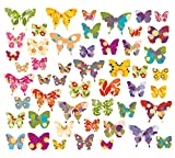 50 x Schmetterlinge, Wandsticker, Fenstersticker, Fensterbilder Schmetterlinge, Windowsticker,...