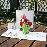 kofun-Grußkarte mit Umschlag, 3D Tulpen Blumen Pop Up Grußkarte Frohe Weihnachten Geburtstag New...