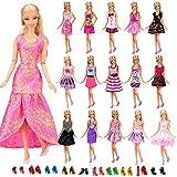 Miunana 22 Stück = 12 Kleider Kleidung Partymode Prinzessinnen Fashionistas mit 10 Paar Schuhe für...