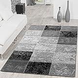 Teppich Preiswert Karo Design Modern Wohnzimmerteppich Grau Schwarz Top Preis, Größe:190x280 cm