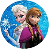 Tortenaufleger Elsa & Anna 20 cm Ø mit Namenseinblendung