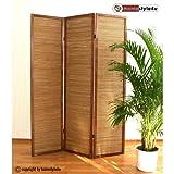 Homestyle4u 381 Paravent 3 teilig Raumteiler 3 fach Holz Braun Shoji Bambus Trennwand Spanische Wand...