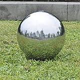 Anself Springbrunnen Kugelbrunnen Brunnenkugel aus Edelstahl mit LED Beleuchtung Durchmesser...