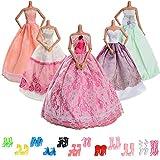 Asiv 17 Stück Mode Urlaubstag Kleidung Kleider für Barbie Puppen Doll, 5 Partymoden Hochzeit...