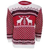 Herren Strickpullover / Pullover mit weihnachtlichem Rentier-Motiv (Large) (Rot/Weiß)