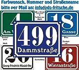 DSF Hausnummern Schild aus Alu mit Wunschtext und Wunschfarbe, 20x15 cm (navyblau)