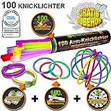 100 Knicklichter 7-FARBMIX, Testnote: 1,4SEHR GUT, Komplett-Set inkl. 100x TopFlex-, 2x Dreifach-...
