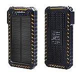 Solar Powerbank X-DRAGON 15000mAh Externes Batterien Handy Solar Ladegerät mit Dual USB Ports Zwei...
