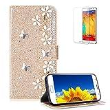 Gold Glitzer Hülle für Samsung Galaxy S7,Flip Brieftasche Handyhülle für Samsung Galaxy...