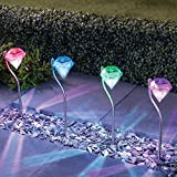 Solarlampe für Garten mit 4er-Set , Farbwechsel Edelstahl Diamant LED Solarleuchten Garten Stecker...