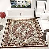 Teppich VIMODA Klassisch Gemustert Kreis, sehr dicht gewebt, Orient Muster in Rot - Top Qualität;...