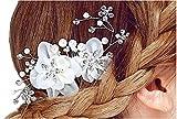 Miya® 1Stück MEGA Glamour Braut Kamm Steckkamm Haarkamm mit wunderschöne Blumen aus sanft Tüll...