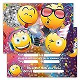 12 Lustige Einladungskarten im Set für Kindergeburtstag Party Emoji Smiley Disco für Jungen...