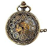 JewelryWe Retro Zahnrad Ritzel Hohe Openwork Handaufzug Mechanische Taschenuhr Skelett Uhr Pullover...