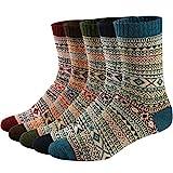 Ueither 5 Paar Unisex Wollsocken - Baumwollsocken - Stricksocken | für Männer & Frauen | Vintage...