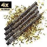 4 x XXL Konfetti-Shooter GOLD 80 cm - Party Popper Konfettikanone Konfettishooter Streamer - für...