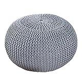 Design Pouf LEEDS 50 cm grau Bezug aus Strick Garn Sitzgelegenheit Fußhocker Sitzpouf gepolstert...
