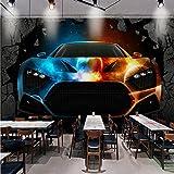WH-PORP Benutzerdefinierte Fototapete 3D Stereo Tapete Bar Ktv Coole Auto gebrochene Wand Custom...