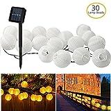 Zaeel Solar Lichterkette Lampions 30 LED Laterne Warmweiß Lichterkette, Solarbetrieben Lichterkette...