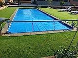 Aufroller Pool Abdeckung Solarfolie Schwimmbad max 4,2 Meter Edelstahl und Aluminium (Mit Minderer...