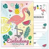 12-er Kartenset FLAMINGO mit einem Flamingo und süßen Früchten in sommerlichen Farben,...