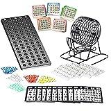 Bingo Spiel Set mit Bingotrommel aus Metall | 75 Kugeln | 500 Bingokarten | 150 Bingochips |...