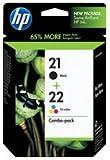 HP 21/22 Multipack Original Druckerpatronen (1x Schwarz, 1x Farbe) für HP Deskjet 3940, D1530,...