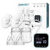 SUMGOTT Elektrische Milchpumpe, Doppel-Stillpumpe Elektrische Brustpumpe mit Touchscreen...