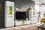 KRYSPOL Wohnwand Fame Anbauwand, Wohnzimmer-Set, Modern Design (Weiß Matt/Weiß Glanz + Eiche...