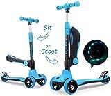 Fascol 2 in 1 Kinder Roller Kinderscooter Kleinkinder Scooter mit Klappbar Sitz und LED Räder...