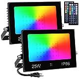 Olafus 2er 25W RGB LED Strahler, Farbig Fluter mit 44 Tasten Fernbedienung, 30 Farben Farbwechsel...