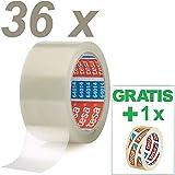 Tesa 36 Rollen Paketklebeband (66m, 50mm) transparent Paketband + Gratis Tesafilm 57370 [15mm X 10m]
