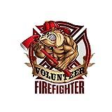 GDYL Autoaufkleber Aufkleber Bull Dog Volunteer Feuerwehrmann Abdeckung Kratzer Auto-Aufkleber...