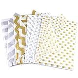 VGOODALL Seidenpapier, 80 Blatt Geschenkpapier Metallic Seidenpapier Gold Silber für Geschenk...