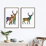 Geiqianjiumai Deer Familie Silhouette mit Leinwand Kunstdruck Poster Kiefernwald Dekoration Tier...