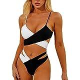 ShallGood Damen Bikini Set Push up Verstellbar Crossover Ties-up Neckholder Bikinioberteil...