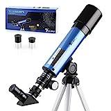 TELMU Astronomisches Teleskop Lichtteleskop zoom Tragbarer Refraktor mit Stativ Kinder Telescope mit...