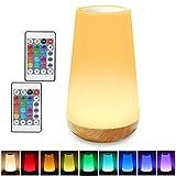 TAIPOW Nachttischlampe, Nachtlicht Kinder Touch Dimmbar Farbwechsel Nachtlampe mit USB, led...