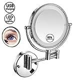 MSCHEN Kosmetikspiegel Wandmontage LED Beleuchtung, Doppelseitig 8in Schminkspiegel Normal und 10...