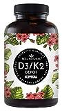 Vitamin D3 + K2 Tabletten - 180 Stück - Hochdosiert mit 5000 I.E. Vitamin D3 und 100 mcg Vitamin K2...