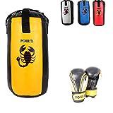 POWRX Boxset für Kinder/Jugendliche, Boxhandschuhe + Boxsack - ab 6 ((2 Fuß) (gelb/schwarz)