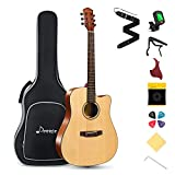 Donner Akustik Gitarre 4/4 in voller Größe, Cutaway Akustikgitarre Anfänger 41 Zoll Mahagoni...