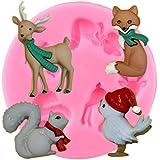 ZHQJY Tiere Silikonformen Kaninchen Eichhörnchen Fox Deer Cupcake Fondant Kuchen...